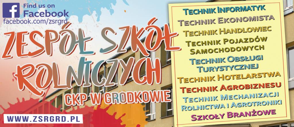 Baner reklamujący kierunki kształcenia w Zespole Szkół Rolniczych w Grodkowie. Informacje w treści artykułu.