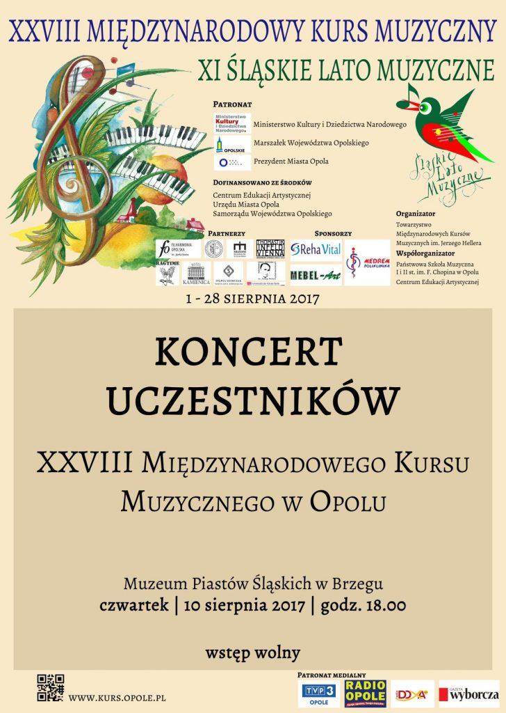 Plakat na Międzynarodowy Kurs Muzyczny XI Śląskie Lato Muzyczne