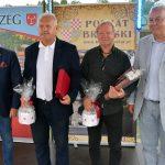 Inicjatorzy imprezy Janusz Żebrowski i Jan Śliwiński oraz Starosta Maciej Stefański i Burmistrz Jerzy Wrębiak