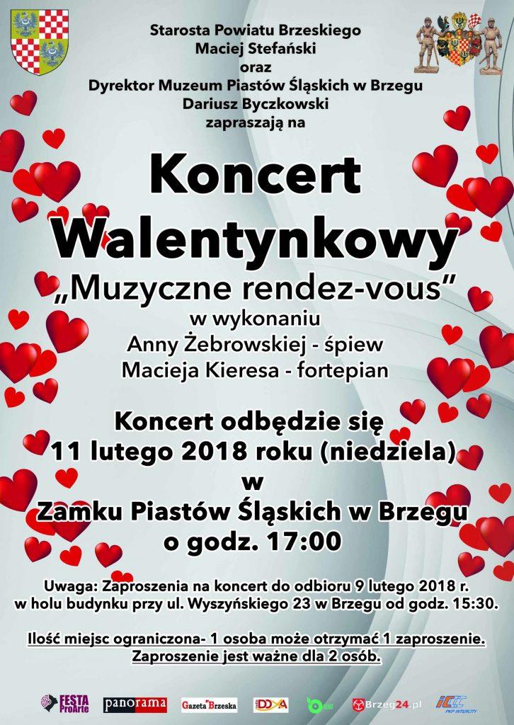 Plakat reklamujący Koncert Walentynkowy. Treść w artykule.